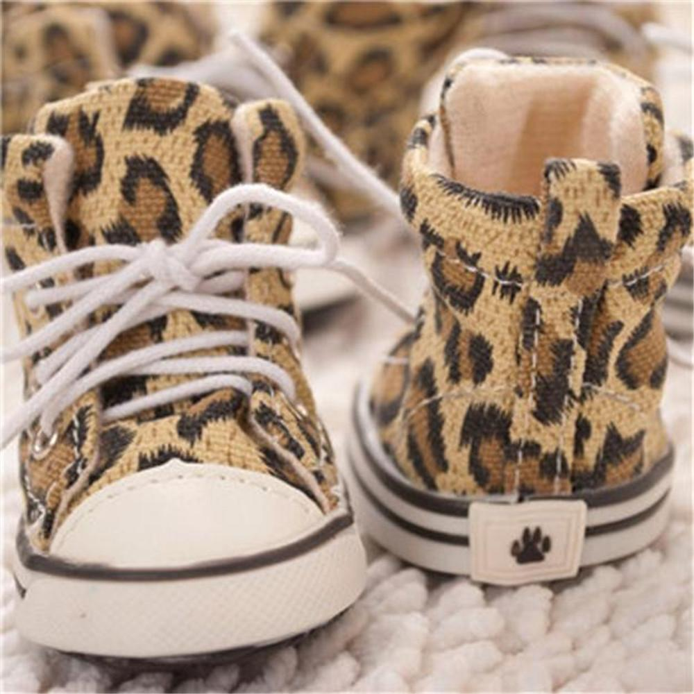 2017 4 Pcs / set  Canvas Leopard Shape Shoes New Style Fashion Dog Shoes Pets Leopard Shoes Dogs Walking Cloth 40%