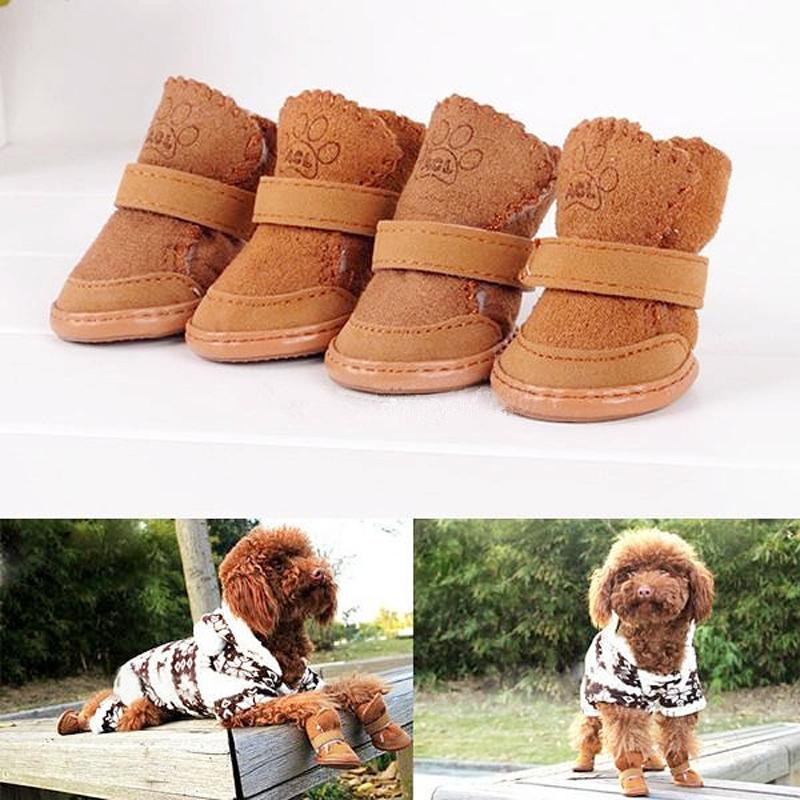 2017 4Pcs 5 Sizes Two Color Rubber Sole  Pet Dog Puppy Cat Shooes Winter Cold-proof Snow Shoes Fashion Warm Protective For Pet