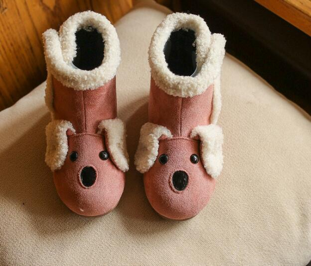 2017 Autumn And Winter New Style Girls Snow Boots Suede Kids Boots Fashion Trends Cartoon Dog Thickening Casual Shoes Keep Warm