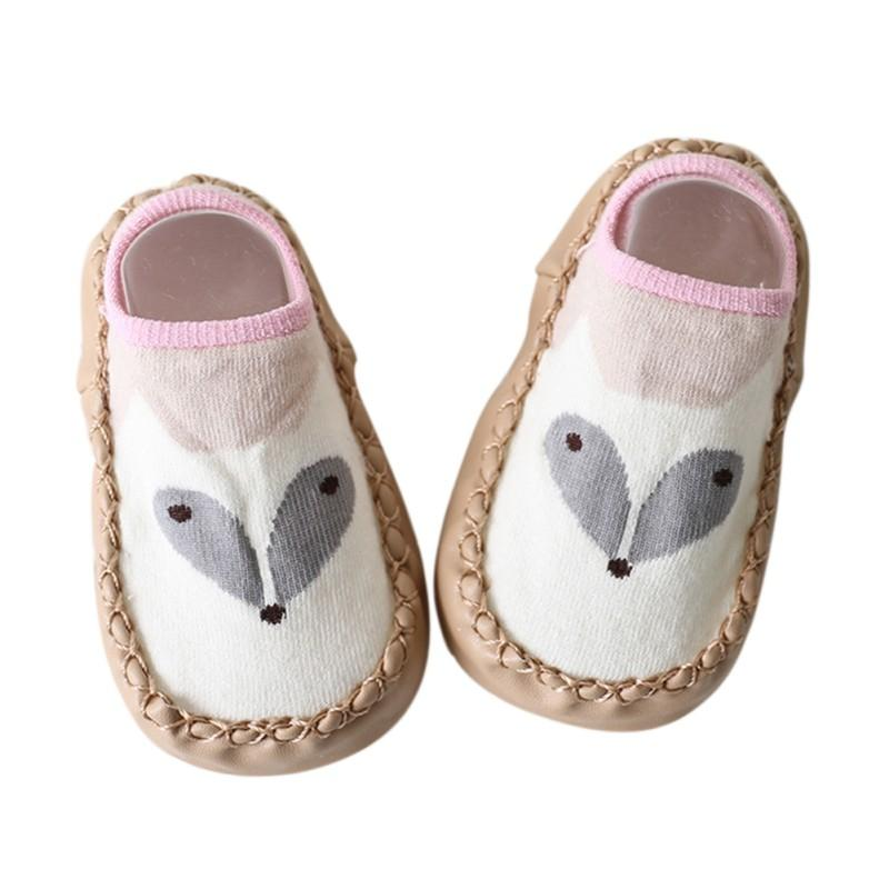 2017 Baby Shoes Boys Girls Sock Style Anti-Slip Soft PU Leather Cotton Moccasins Cartoon Fox Dog Owl Pattern First Walkers