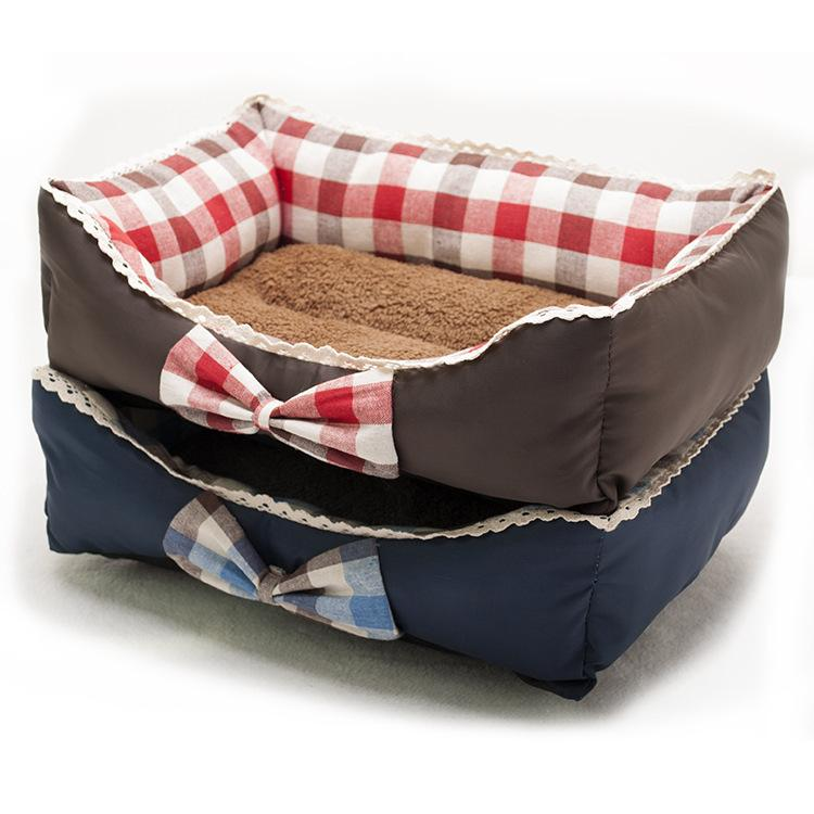 2017 Bow tie Pet Dog Bed Warming Dog House Soft Material Pet Nest Dog Fall and Winter Warm Nest Kennel For Cat Puppy