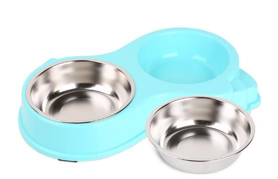 2017 Candy Color Non Slip Pet Dog Cat Bowl Food Water Dish Stainless Steel Pet Puppy Feeder Double Bowls Tray Pet Products D723