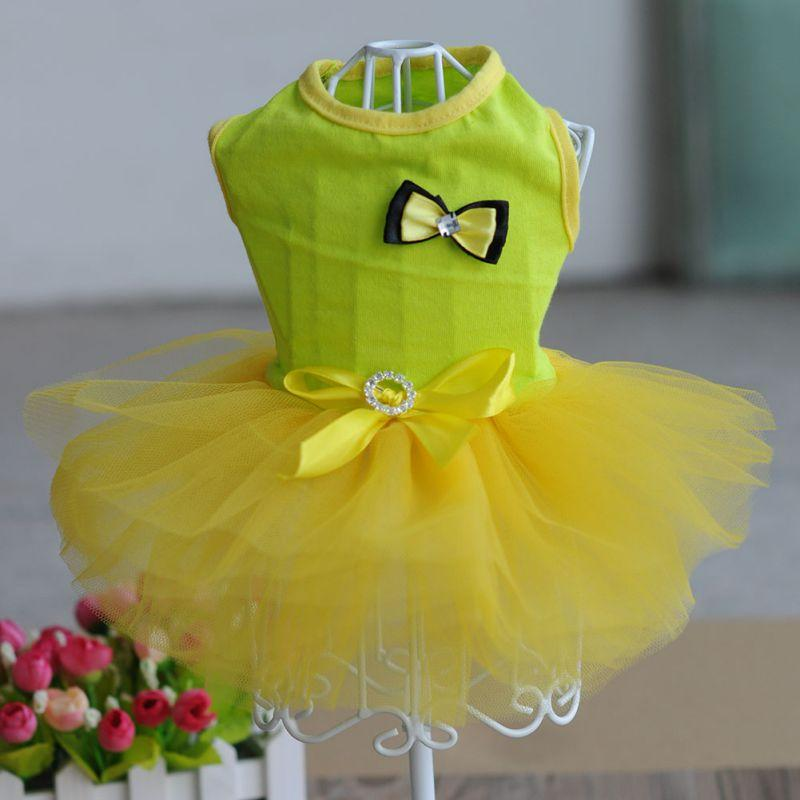 2017 Dog Clothes Summer Dog Harness Dress With Bow Tie Dog Dress Small Puppy Pet Clothes XS-XL