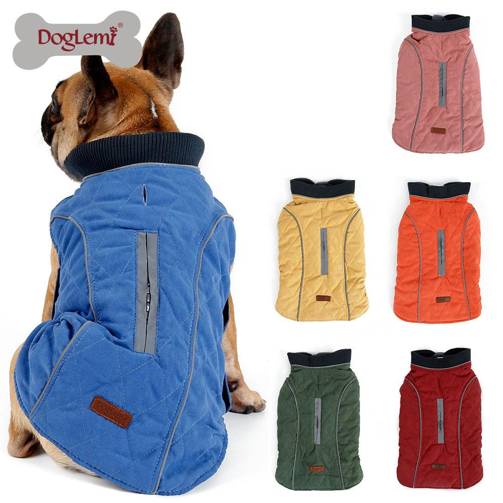 2017 Dog Clothes Winter Quilted Dog Coat Water Repellent Winter Dog Pet Jacket Vest Retro Cozy Warm Pet Outfit Clothes Big Dogs