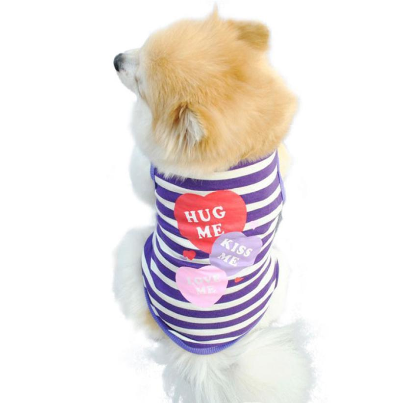 2017 Dog Outer wears spring Dog Clothes Pet Clothes Stripe Vest T Shirt overalls for dogs dressed chien XT