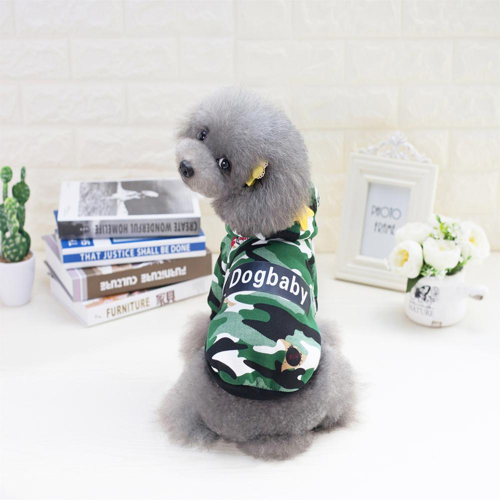 2017 Dogbaby Winter Pet Dog Clothes Classic Camouflage Dog Hoodies Warm Puppy Dog Jackets 2 Colors For Chihuahua Pet Costume