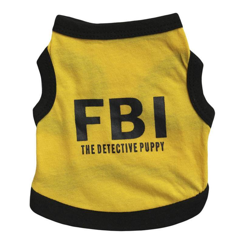 2017 FBI Pet Dog Clothes Fashion T-shirt Soft Dogs Clothes Pet Clothing Summer Cotton Shirt Casual Coats For Small Pets XS-L
