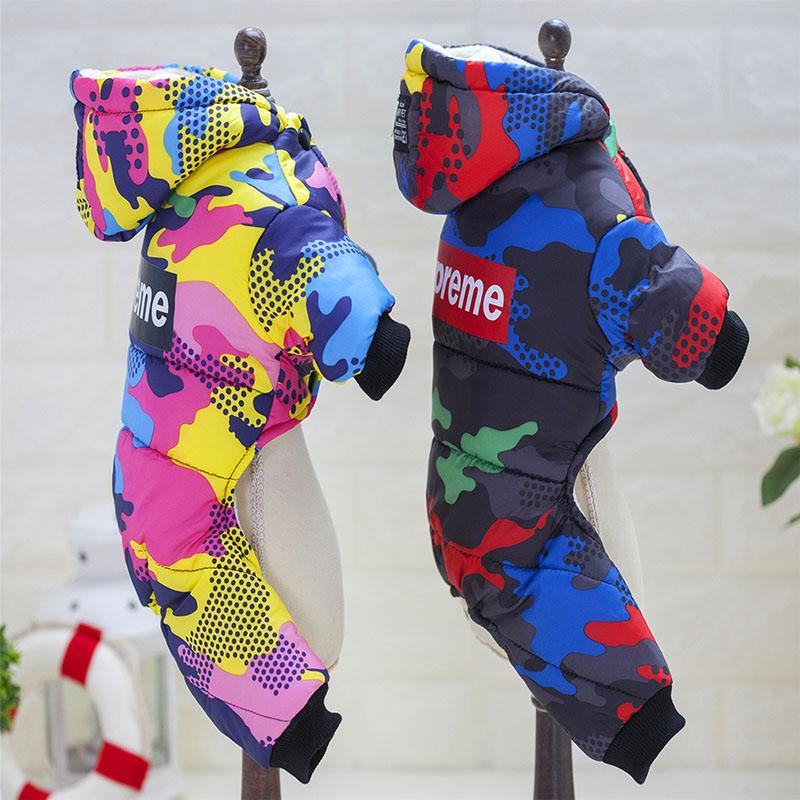 2017 Fashion Printing Winter Warm Pet Parkas Coat Thick Cotton-padded Waterproof Dog Suit Outfit with Hood for Cold Weather