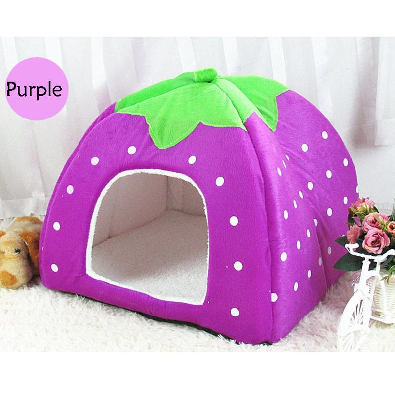 2017 Hot Selling Warm Soft Plush Sponge Strawberry Pet Dog Cat Rabbit Bed House Kennel Doggy Cushion Basket 5 Colors S-XXL