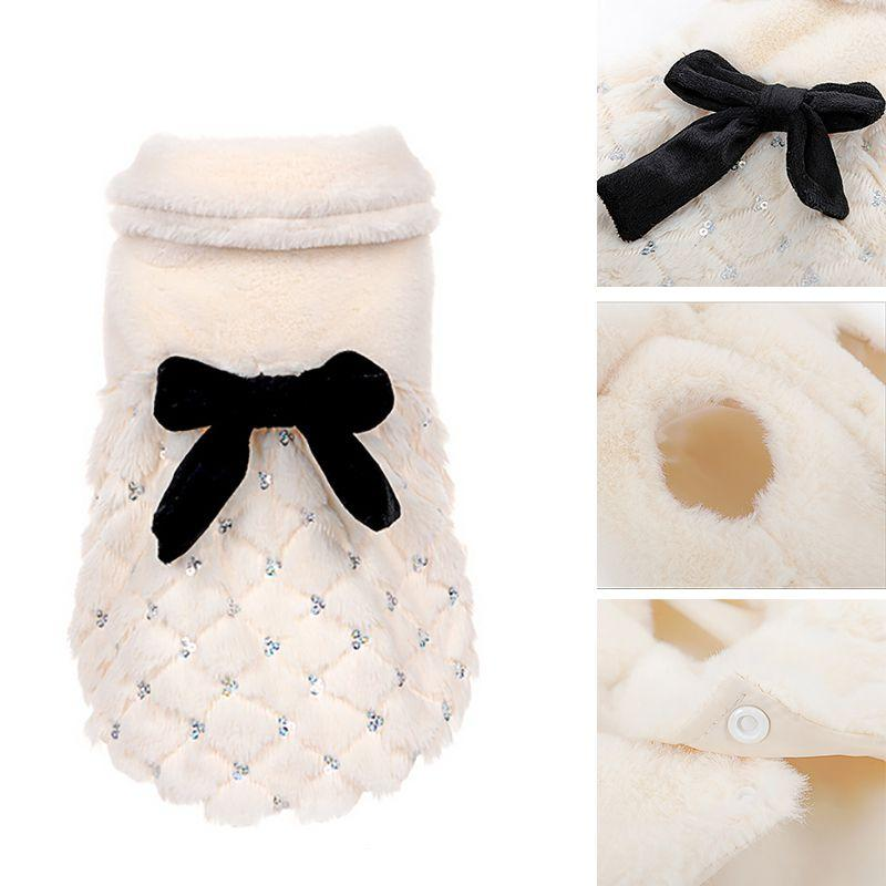 2017 Luxury Elegant Fur Coat Winter Small Dog Cat Clothes Bow Knot Clothes Pet Clothing New