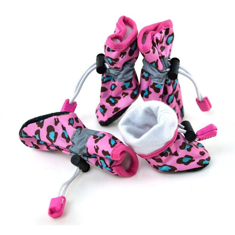 2017 NEW Pet Dog Cat Anti-Slip Rubber Sole Waterproof Leopard Boots 7 Size Dog Shoes Pets Supplies