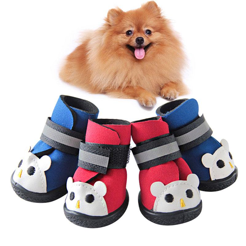2017 New 4pcs Winter Pet Dog Shoes Warm Dog's Boots Cotton Waterproof Anti Slip Shoes For Pet Product Shoes Durable Y9