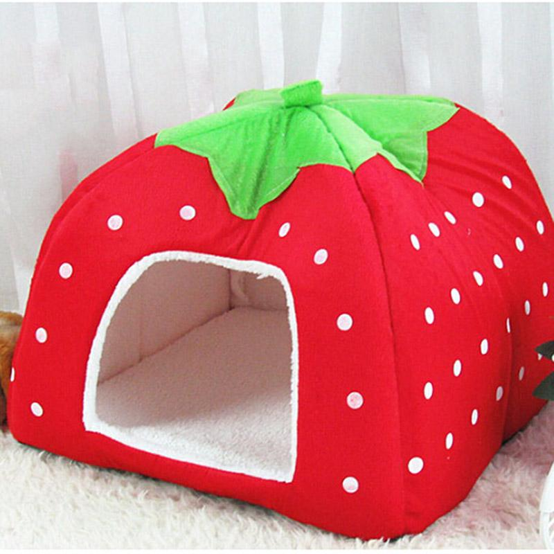 2017 New Indoor Large Warm And Sweet Soft Dog House Bed Strawberry Dogs Beds Nest Pet Accessories Products Supplies For Cat Mats