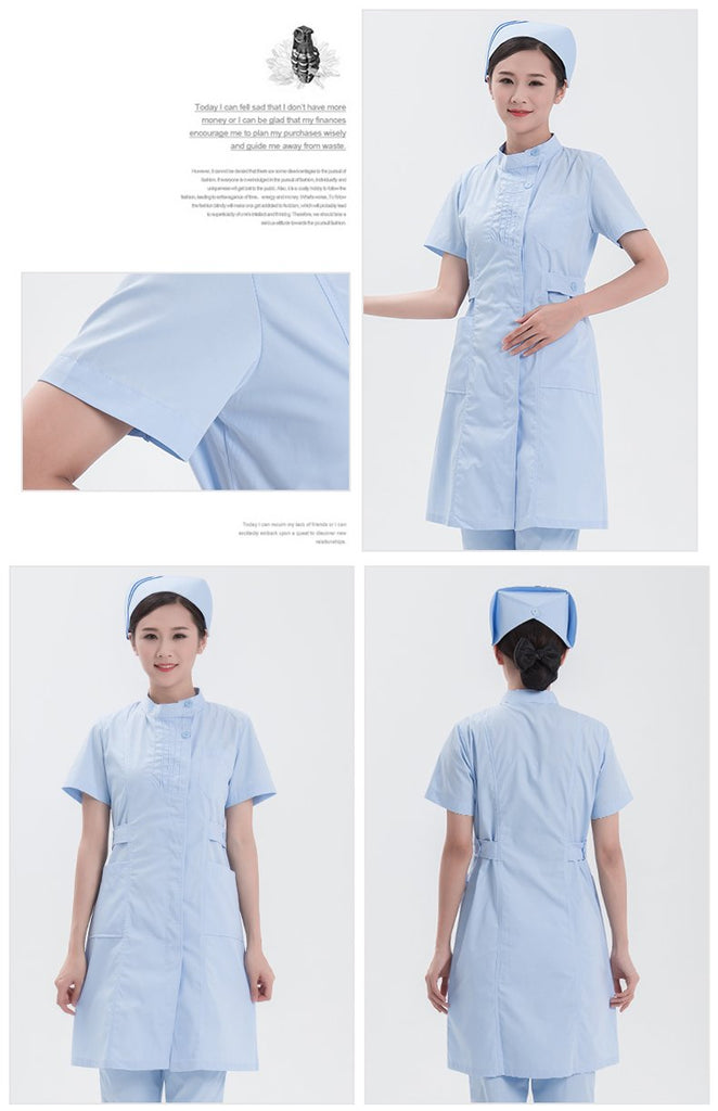 2017  New Medical Nurse Uniform Women Lab Coat Fashion Design Slim Fit Nurse Overalls Breathable Dental Clinic Workwear Clothes