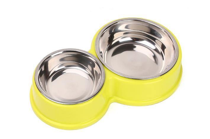 2017 New Pet Dog Double Bowl Stainless Steel Dog Cat Puppy Feeding Feeder Food Bowl Water Dish D722