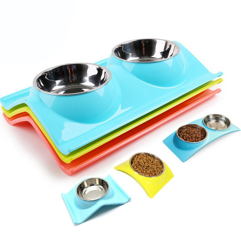 2017 free shipping pet cat dog feeders stainless steel dog bowls W-shape dog bowl double for chihuahua 3 colors