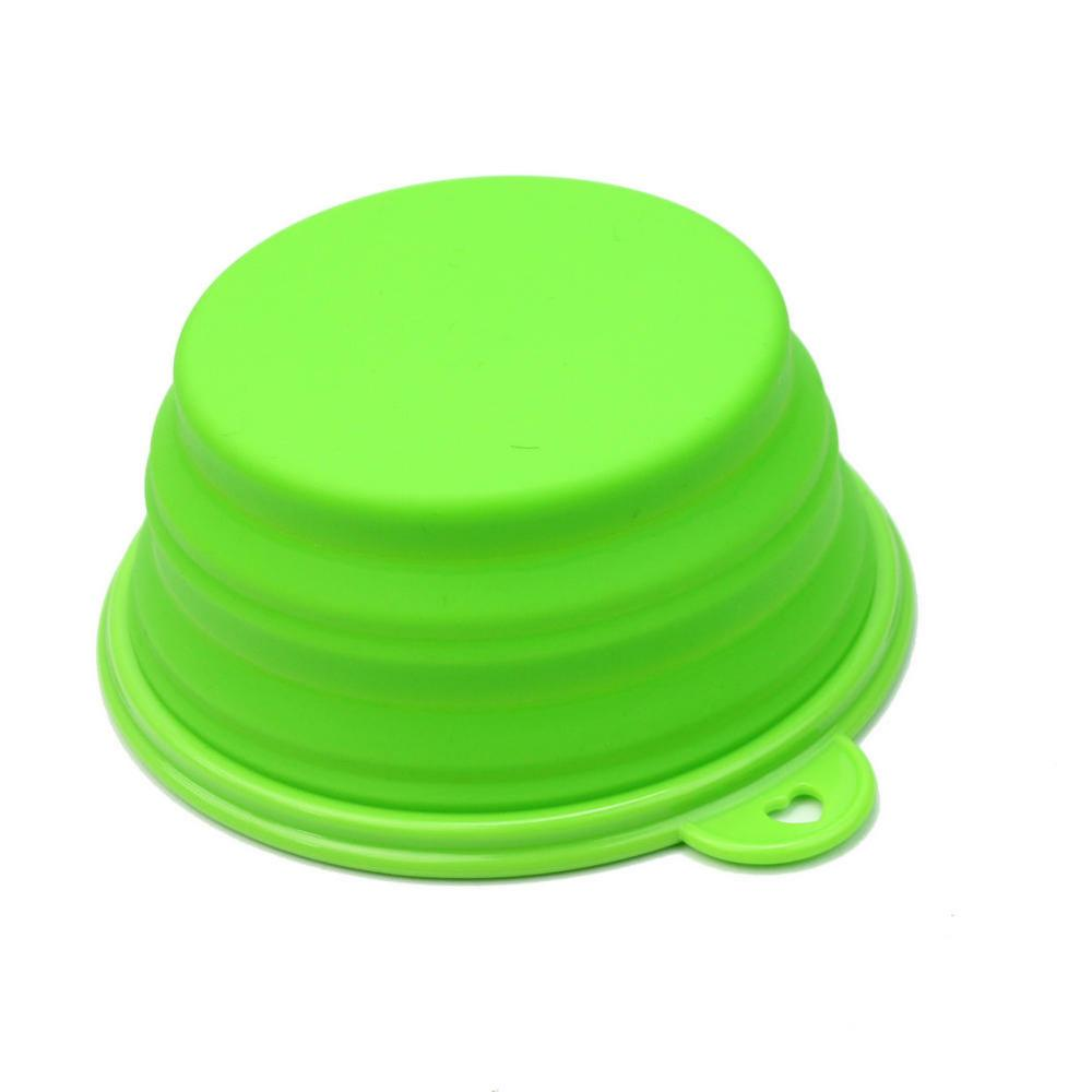 2017 hot New Pets Dog Cat Puppy Portable Green Silicone Foldable Collapsible Travel Bowl Dish Water Food Feeding Supplies