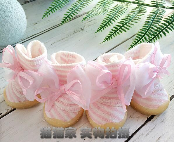 2017 new pet fresh  striped shoes  pet dog anti-skid shoes teddy puppy Ribbon bow tie shoes