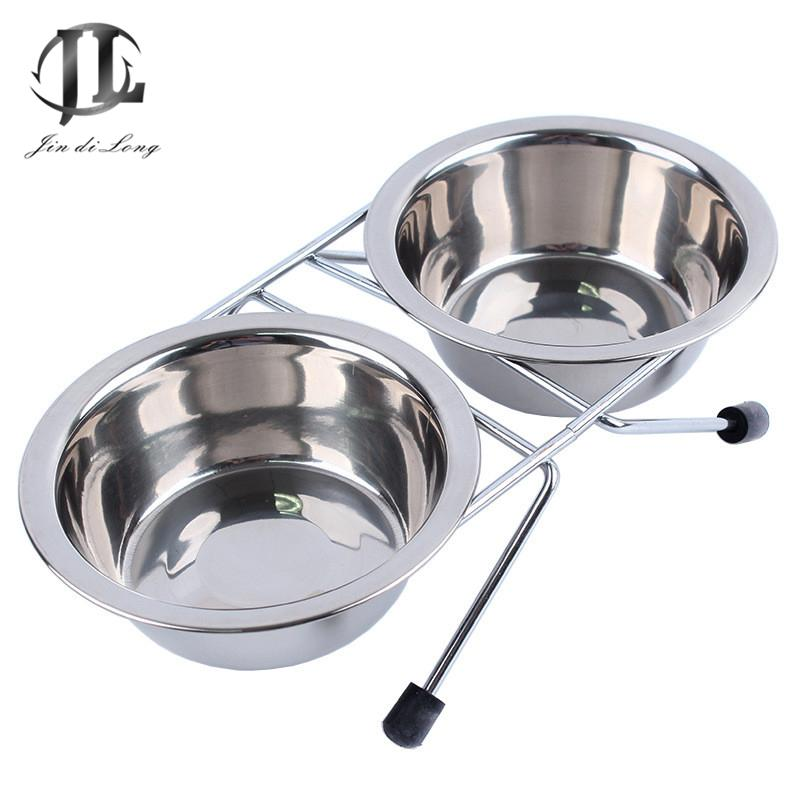 *2018 Pet Daily Necessities Antiskid Iron Bracket Dog Edible Bowls Heat-resistant Stainless Steel Double Bowl