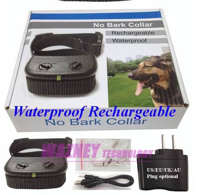 20set/lot*6 Level Rechargeable Waterproof Anti No Bark Shock Vibration Dog Anti No Bark pet Training Shock Collar Collars