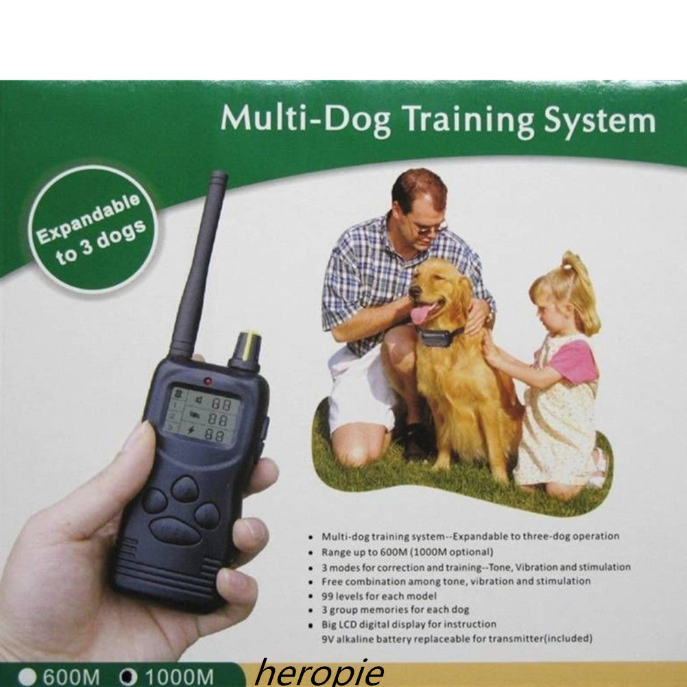 3 Dogs 1000m Remote Electric Dog Collar Pet Training System 100lv Lcd Display 3 Group Memory For Each Animal