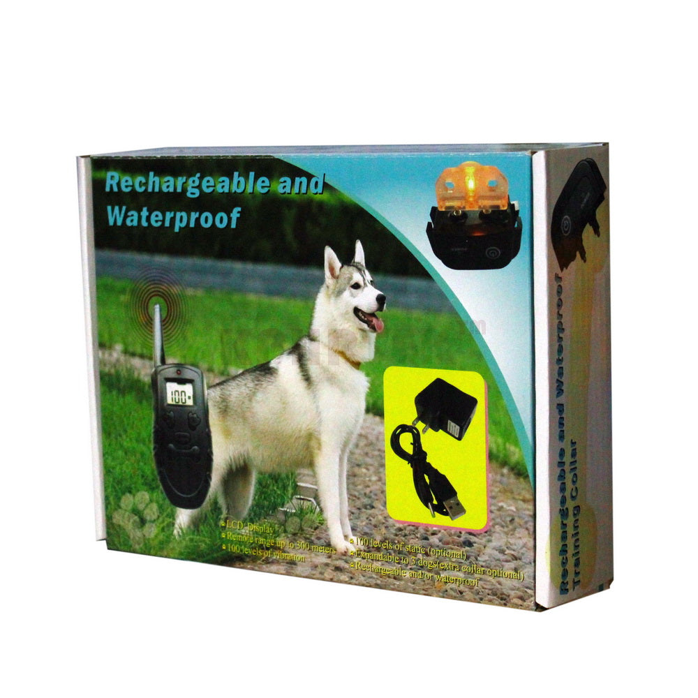 300M 100LV Shock Rechargeable Diving Swiming Waterproof Dog Training Collar With LCD Display