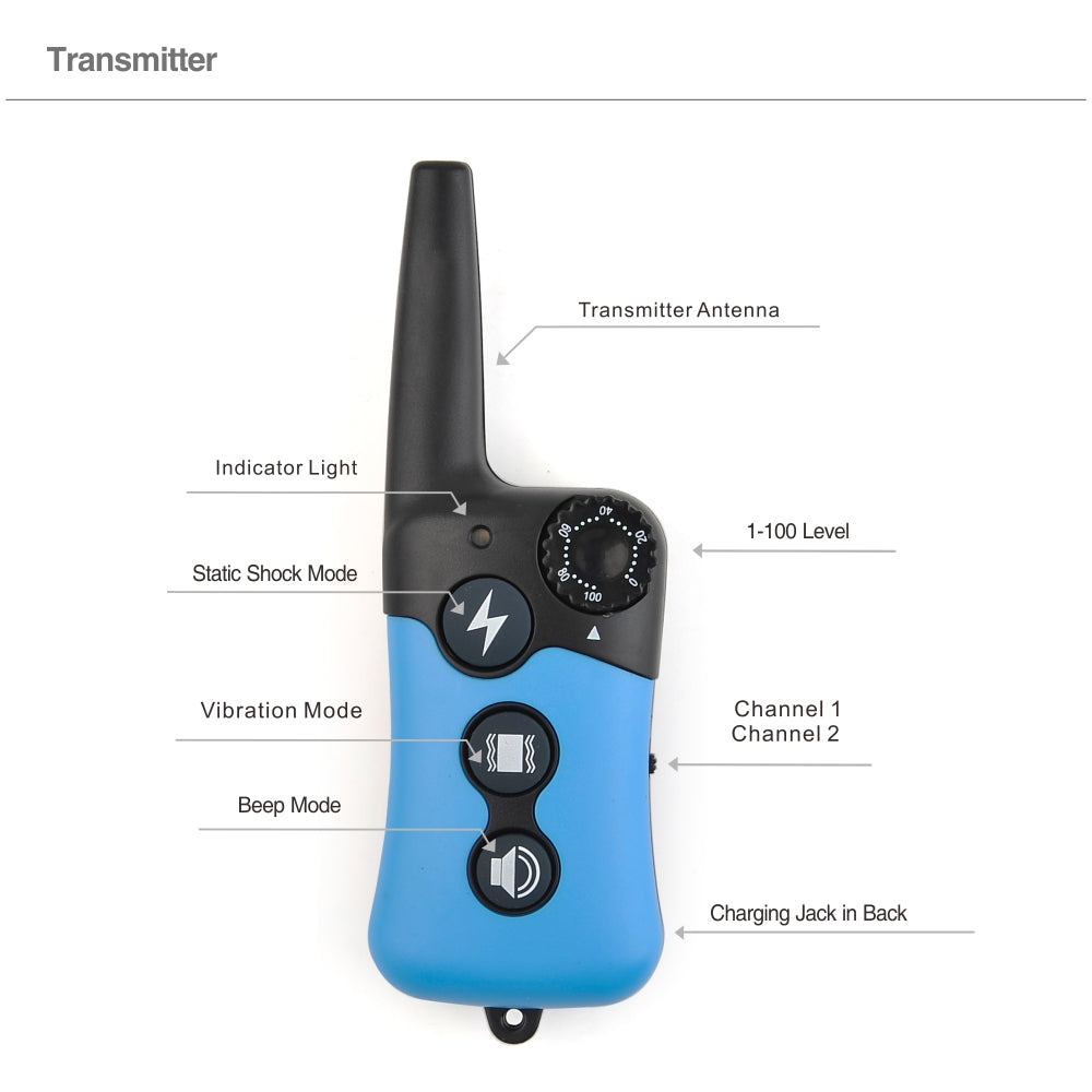 300M Remote Control Dog Electric Collar, Rechargeable and Waterproof LCD Pet Dog Training Collar Anti Bark Control for 2 dogs
