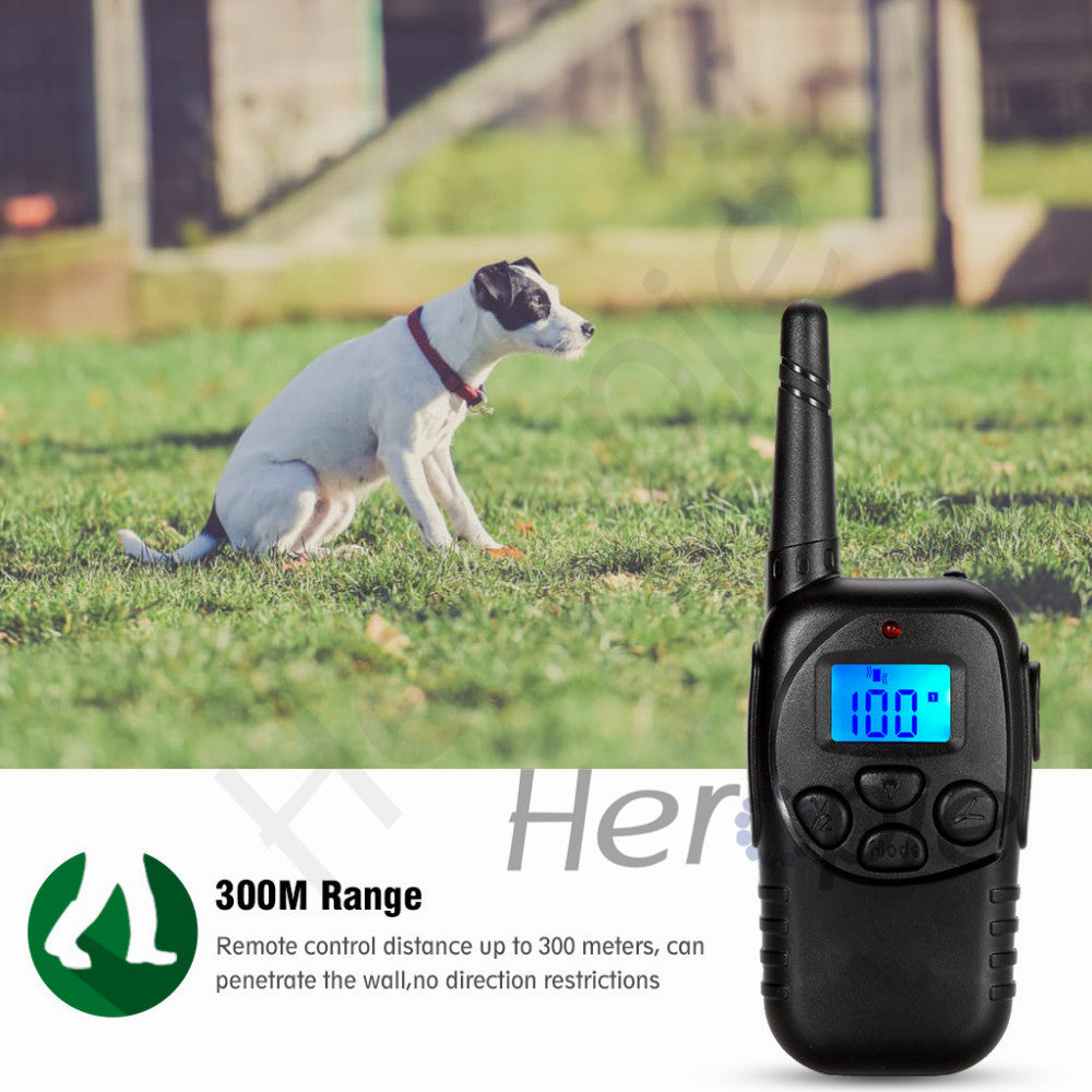 300M Remote Control Electronic Dog Collar Training Anti-bark Collar Shock Collar Pet Electric Shock Larger Dog Training Collar