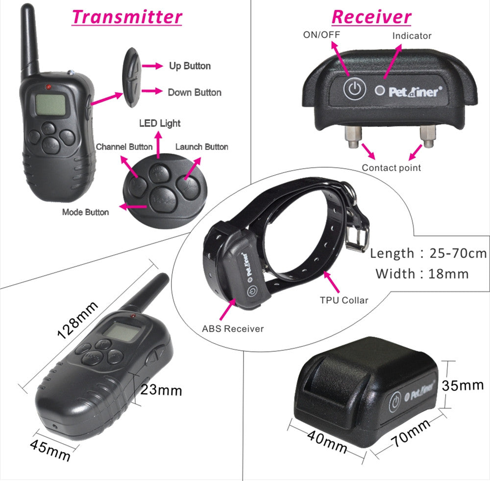 300M Remote Dog Training TPU Collar Rechargeable And Waterproof Vibration Shock Electronic Electric Anti Bark Control