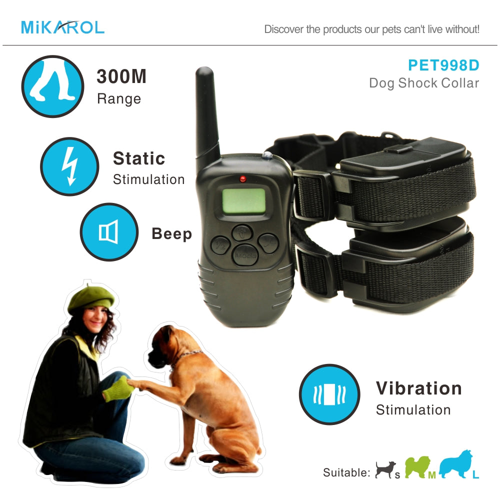 300M electronic Training dog collar electric shock pet trainer collar anti bark remote anti dog barking devices for 2 dogs