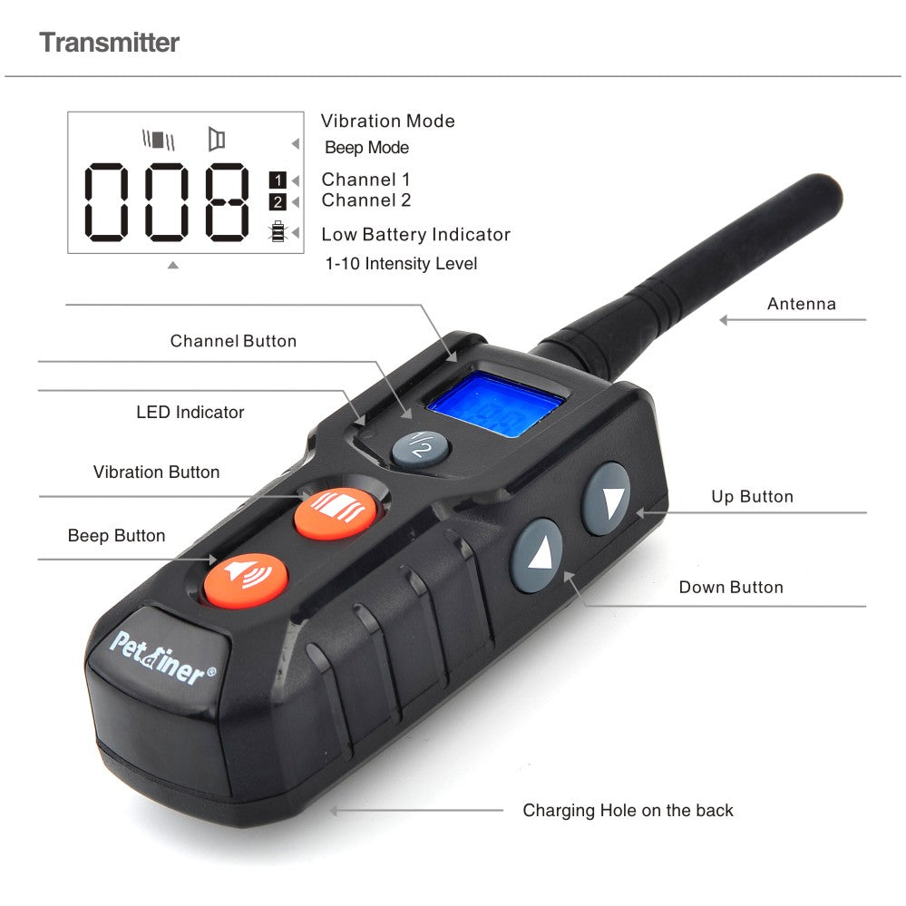 300m remote control petainer collar electric dog training waterproof bark collar anti barking
