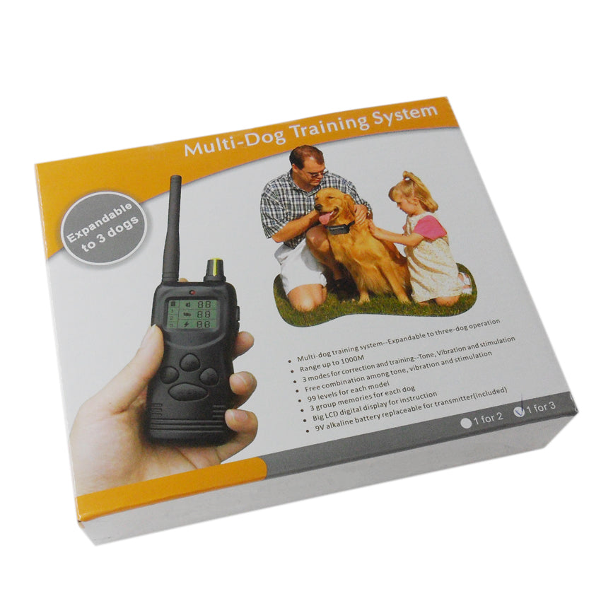 36pcs/lot Dog Training Collar 100 levels  1000m Remote Control With 3 Receiver Collar for 3 dogs  WALZY PT 266