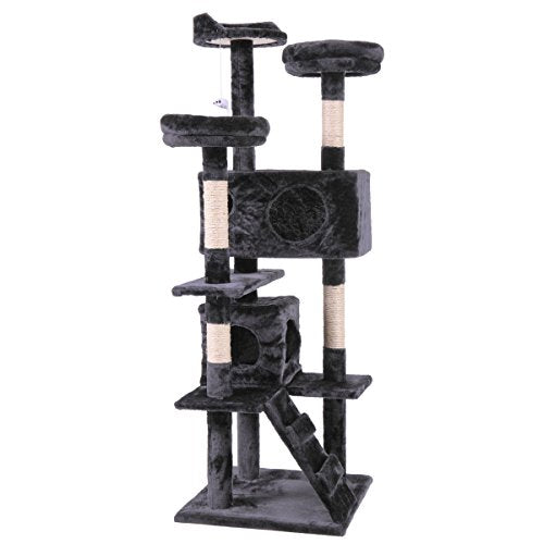 Excellent 60 Black Cat Activity Tree Tower Condo Furniture Scratching Post Pet Kitty Play House Download Free Architecture Designs Scobabritishbridgeorg