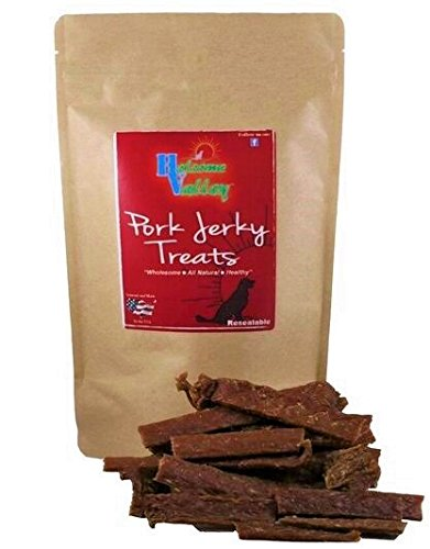 Holsome Valley Pork Loin Dog Jerky Treats From Treats & Chews-Premium All Natural-No Preservatives-No Chemicals-Sourced And Made In The USA-Healthy & Delicious-Non Rawhide-Best Training Treats-7oz.