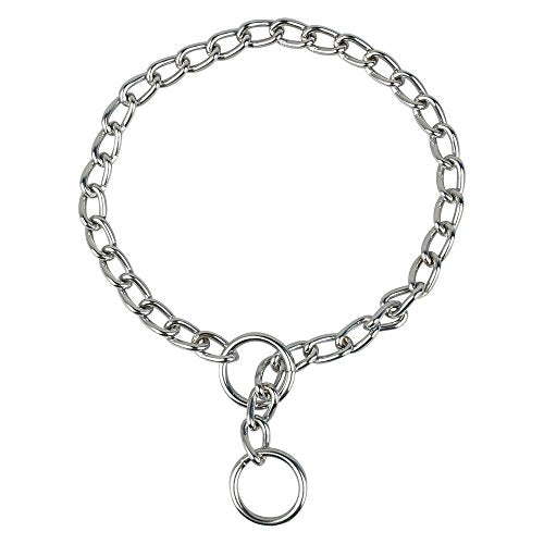 Jpettie Solid Snake Chrome Stainless Steel P Chock Metal Chain Training Dog Pet Collars Necklace (65CM1.8CM3.8MM)