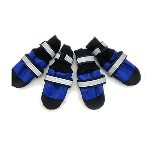 Waterproof Oxford Cloth Dog Shoes 4pcs/set Footwear with Reflective Boots Pet Products Dog Clothes Shoes (Blue, XXL)