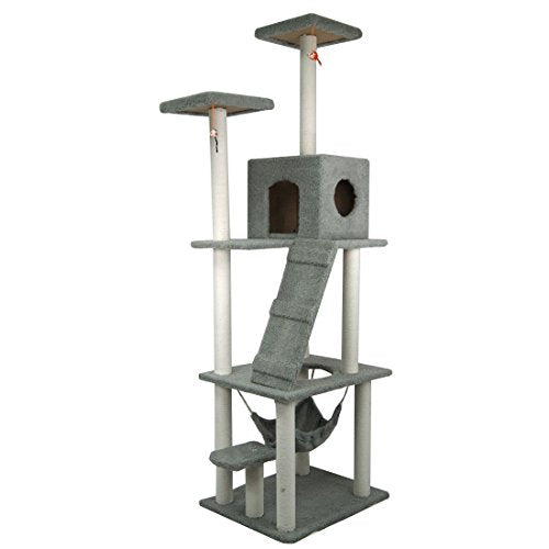 "Vakker 106"" Cat Tree Tower Condo Scratching Post Kitty Playhouse (gray)"