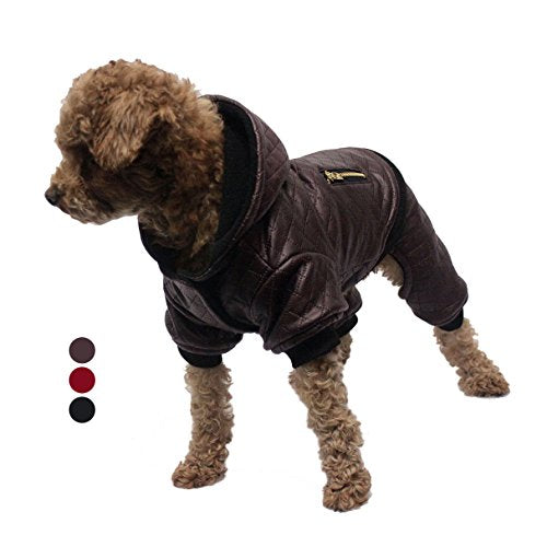 GabeFish Pet Pu Leather Style Detachable Coats For Small Dogs Animals Fashion Two Piece Four Legs Snap Button Hood Jacket Brown Large