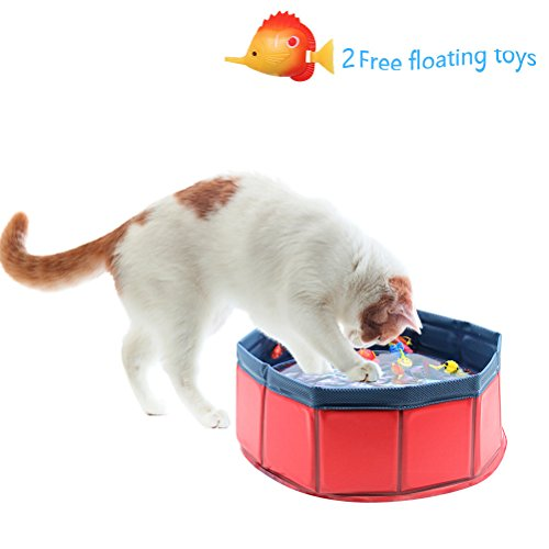 PUPTECK Portable Cat Swimming Pool Fish Floating Cat Toys Set
