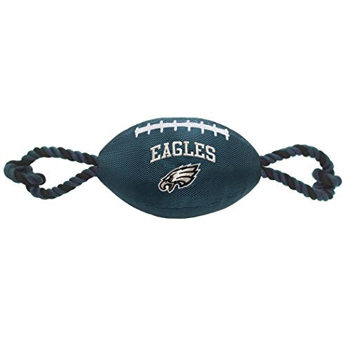 Pets First NFL PHILADELPHIA EAGLES Football Dog Toy, Tough Nylon Quality Materials with Strong Pull Ropes & inner SQUEAKER in NFL Team Color