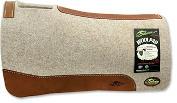 """The Montana"" 100% Extra Fine Wool Saddle Pad by Southwestern 3/4"" or 1"" Thick and Designer Wear Leather"