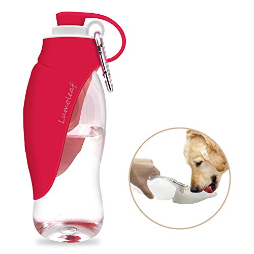 LumoLeaf Portable Pet Water Bottle by, Reversible & Lightweight Water Dispenser for Dogs and Cats, Made of Food-Grade Silicone (20 Oz) - Pink
