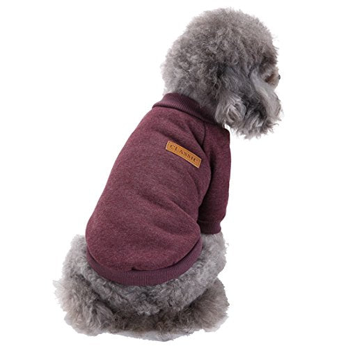 GabeFish Dogs Clothes Pullover Fleece Hoodie For Small Medium Puppy Pets Cats Autumn Winter Apparel Sweatshirt Brown X-Small