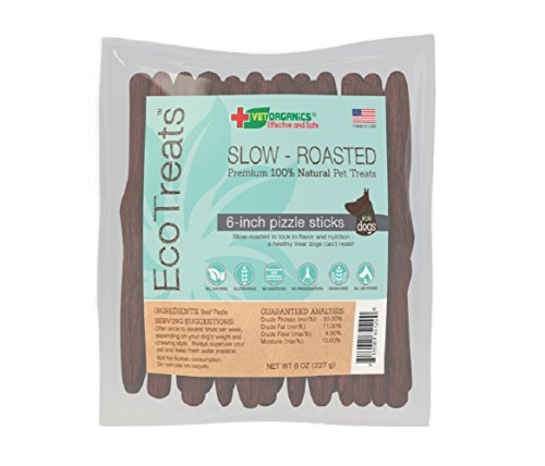 EcoTreats Slow-Roasted 6-in Beef Pizzle Sticks All-Natural Low Odor Bully Sticks for Dogs. Natural, Grain Free Dog Treats, Made in the USA. Great Training Reward! 8 Oz.