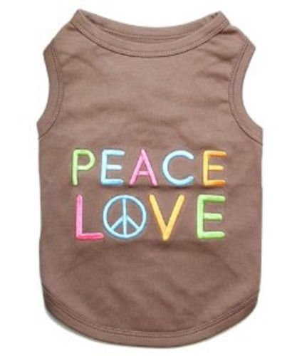 """ PEACE LOVE "" - Embroidered Pet Dog Shirt - All Sizes (Large)"