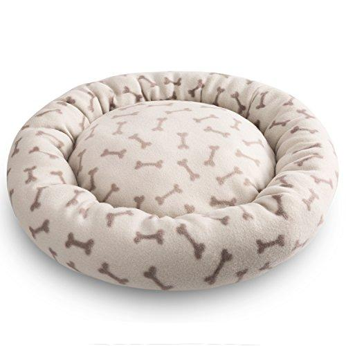 Hollypet Self-warming Soft Comfortable Round Cat Bed Dog Pet Bed Mat, Ivory