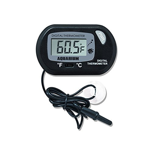 Accreate Practical Digital LCD Screen Water Thermometer with Sucking Disk for Aquarium Fish Tank Reptile Cave Temperature Measurement (black)