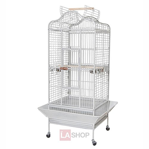 "32""x30""x61"" Large Parrot Bird Cages House Open Playtop Dome Top White Vein"
