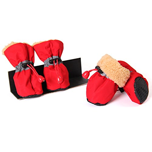 LanPet Faux Fur Lined Winter Warm Pet Thick Dog Shoes Waterproof Rain Boots pack of 4 Dog Clothes Red,Size 3