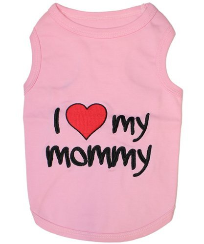 """I LOVE MY MOMMY "" - HIGH QUALITY PINK Embroidered Pet Dog Shirt - All Sizes (XL)"
